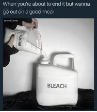 Memes, Bleach, and Good: When you're about to end it but wanna  go out on a good meal  @HoodCumedy  BLEACH Me cus i need it to be tasty shiii its gonna be my last meal might as well make it tasty 👅 - Follow me ➡️@HOODCUMEDY for more memes 💀