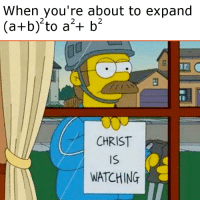 Memes, 🤖, and For: When you're about to expand  (a+b)'to a2+ b2  IS  WATCHING Credit: Mathematical Memes for Logarithmically Scaled Teens