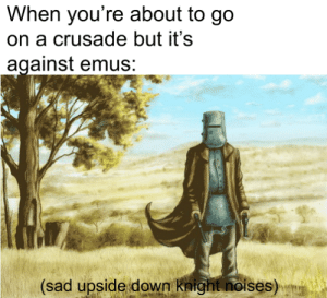 Sad, Prisoners, and Down: When you're about to go  on a crusade but it's  against emus:  (sad upside down knight noises) And some prisoners