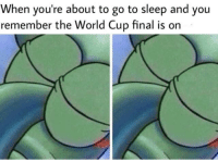 "Go to Sleep, Sorry, and Tumblr: When you're about to go to sleep and you  remember the World Cup final is on <p><a href=""http://memehumor.net/post/175951457293/sorry-not-sorry"" class=""tumblr_blog"">memehumor</a>:</p>  <blockquote><p>sorry not sorry</p></blockquote>"