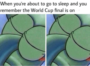 Go to Sleep, World Cup, and World: When you're about to go to sleep and you  remember the World Cup final is on