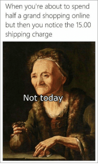 Shopping, Today, and Grand: When you're about to spend  half a grand shopping online  but then you notice the 15.00  shipping charge  Not today