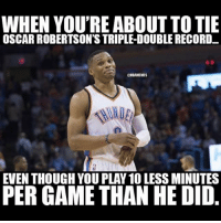Double tap if you think Russ will get more then 41 triple doubles this season🔥(he has 40 now👀): WHEN YOU'RE ABOUT TO TIE  OSCAR ROBERTSON'S TRIPLEDOUBLERECORD  ONBAMEMES  EVEN THOUGH YOU PLAY 100 LESS MINUTES  PERGAME THAN HE DID Double tap if you think Russ will get more then 41 triple doubles this season🔥(he has 40 now👀)