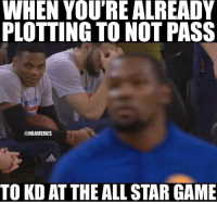 This All-Star Game about to be awkward. ... russell westbrook russellwestbrook kevin durant kevindurant thunder warriors allstar nba meme memes awkward nbamemes: WHEN YOU'RE ALREADY  PLOTTING TO NOT PASS  @NBAMEMES  TO KD ATTHE ALL STAR GAME This All-Star Game about to be awkward. ... russell westbrook russellwestbrook kevin durant kevindurant thunder warriors allstar nba meme memes awkward nbamemes