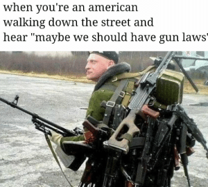 If i had a nickle: When you're an american  walking down the street and  near maybe we should nave gun lawS' If i had a nickle