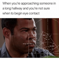 Funny, Girl Memes, and Eye: When you're approaching someone in  a long hallway and you're not sure  when to begin eye contact  asi  닌0.000.  al I'm not sure what to do with my eyes (@masipopal)