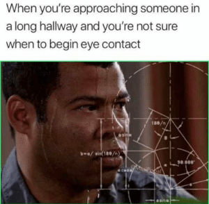 Dank, Memes, and Target: When you're approaching someone in  a long hallway and you're not sure  when to begin eye contact  1ae/n  L90800  al  се Me_irl by RAAZUL97 MORE MEMES