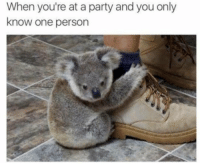 me irl: When you're at a party and you only  know one person me irl