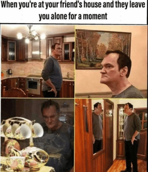 Meirl: When you're at your friend's house and they leave|  you alone for a moment Meirl