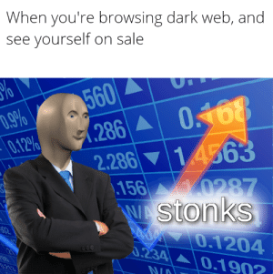 Dark Web, Dark, and Web: When you're browsing dark web, and  see yourself on sale  560  .9%  0.12%  0468  .286  2,286 14563  .156 0287  WAStonks  AOM 70.1204  0.234 0.190?  02  0.213  NIA Im rich now