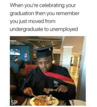 😐😐: When you're celebrating your  graduation then you remember  you just moved from  undergraduate to unemployed  SP 😐😐