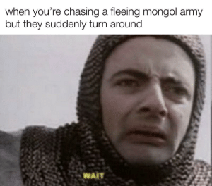 this wasn't in the war manual: when you're chasing a fleeing mongol army  but they suddenly turn around  WAIT this wasn't in the war manual