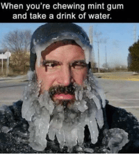"Bruh, Memes, and Water: When you're chewing mint gum  and take a drink of water. <p>Bruh them sensitive teeth too. via /r/memes <a href=""https://ift.tt/2IDpihV"">https://ift.tt/2IDpihV</a></p>"