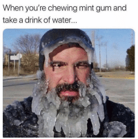 Funny, Water, and Mint: When you're chewing mint gum and  take a drink of water 🥶
