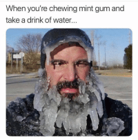 Water, Hood, and Mint: When you're chewing mint gum and  take a drink of water... On everything!😂💯
