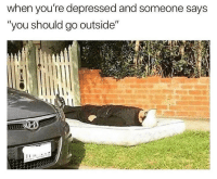 "Memes, Am I Doing This Right, and 🤖: when you're depressed and someone says  ""you should go outside"" Am I doing this right"