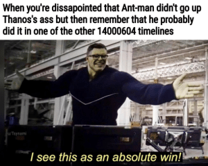 Ass, Ant Man, and Ant: When you're dissapointed that Ant-man didn't go up  Thanos's ass but then remember that he probably  did it in one of the other 14000604 timelines  u/Tsynami  l see this as an absolute win! Ant-man is inevitable