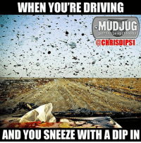 Memes, 🤖, and Portable: WHEN YOU'RE DRIVING  MUDJUG  portable spittoons  @CHRISDIPS1  AND YOU SNEEZE WITH A DIP IN Splat!! 😂