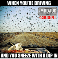 Memes, 🤖, and Portable: WHEN YOU'RE DRIVING  MUDJUG  portable spittoons  @CHRISDIPS1  AND YOU SNEEZE WITH A DIP IN Splat!!! 😂 mudjug struggleisreal dip30 packdipspit photo by @Chrisdips1