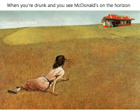 Drunk, McDonalds, and Memes: When you're drunk and you see McDonald's on the horizon  LASSICAL ART MEMES