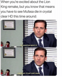 😂😂 CYBER MONDAY! 25% off! LINK IN BIO TO SHOP - LAST SALE OF THE YEAR ENDS AT MIDNIGHT TONIGHT! ———— theoffice dundermifflin dwightschrute michaelscott theofficeshow: When  you're excited about the Lion  King remake, but you know that means  you have to see Mufasa die in crystal  clear HD this time aroung  NO QUESTION ABOUT IT.  IAM READY TO GET HURT AGAN. 😂😂 CYBER MONDAY! 25% off! LINK IN BIO TO SHOP - LAST SALE OF THE YEAR ENDS AT MIDNIGHT TONIGHT! ———— theoffice dundermifflin dwightschrute michaelscott theofficeshow