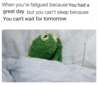 Memes, 🤖, and Fatigue: When you're fatigued because You had a  great day but you can't sleep because  You can't wait for tomorrow https://t.co/J2uGeMIkKD