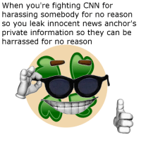 """4chan, cnn.com, and Memes: When you're fighting CNN for  harassing somebody for no reason  so you leak innocent news anchor's  private information so they can be  harrassed for no reason <p>I&rsquo;m not a fan of 4chan via /r/memes <a href=""""http://ift.tt/2tOKSfg"""">http://ift.tt/2tOKSfg</a></p>"""