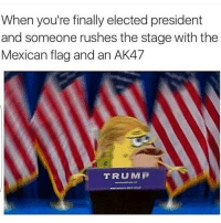 Yall have 0 chill😂😂😂🤘 HoodClips: When you're finally elected president  and someone rushes the stage with the  Mexican flag and an AK47  TRUMP Yall have 0 chill😂😂😂🤘 HoodClips