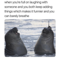 Memes, 🤖, and Can: when you're full on laughing with  someone and you both keep adding  things which makes it funnier and you  can barely breathe 😂