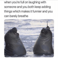 Funny, Lol, and Can: when you're full on laughing with  someone and you both keep adding  things which makes it funnier and you  can barely breathe Tag this buddy lol