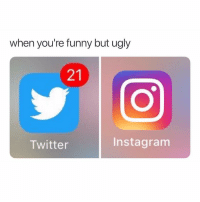 Funny, Instagram, and Memes: when you're funny but ugly  21  Twitter  Instagram TAG someone