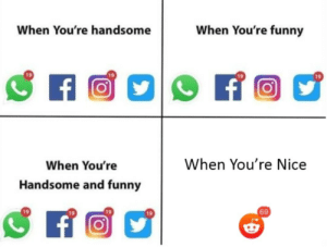 Reddit *Can* be very wholesome: When You're funny  When You're handsome  f  When You're Nice  When You're  Handsome and funny  69 Reddit *Can* be very wholesome