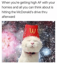 Af, McDonalds, and Weed: When you're getting high AF with your  homies and all you can think about is  hitting the McDonald's drive thru  afterward McDonald's fries are the shizznit 🔥🤤 @_taxo_