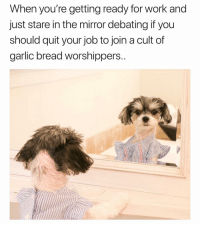 Funny, Work, and Mirror: When you're getting ready for work and  just stare in the mirror debating if you  should quit your job to join a cult of  garlic bread worshippers. Sounds delicious😋🍞 PupPic: @tinkerbellethedog girlsthinkimfunnytwitter puppermemes