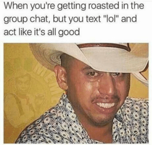 """Meirl by ZeonPeonTree FOLLOW 4 MORE MEMES.: When you're getting roasted in the  group chat, but you text """"lol"""" and  act like it's all good  MA Meirl by ZeonPeonTree FOLLOW 4 MORE MEMES."""