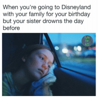 I only make memes about my own childhood trauma now: When you're going to Disneyland  With your family for your birthday  but your sister drowns the day  before  Fan  420 I only make memes about my own childhood trauma now