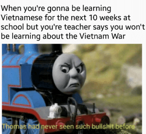Reddit, School, and Teacher: When you're gonna be learning  Vietnamese for the next 10 weeks at  school but you're teacher says you won't  be learning about the Vietnam War  Thomas had never seen such bullshit before The trees