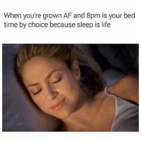 Af, Life, and Memes: When you're grown AF and 8pm is your bed  time by choice because sleep is life Sleep is the absolute best thing in the entire world 💯🙋🏽‍♀️😴