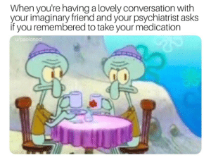 meirl by melvinleelewis MORE MEMES: When you're having a lovely conversation with  your imaginary friend and your psychiatrist asks  if you remembered to take your medication  u/paolonoci meirl by melvinleelewis MORE MEMES