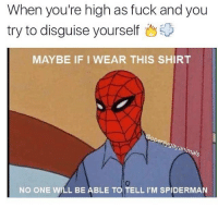 Credit: @openlygayanimals: When you're high as fuck and you  try to disguise yourself  MAYBE IF I WEAR THIS SHIRT  pen/  gayan  mals  NO ONE WILL BE ABLE TO TELL I M SPIDERMAN Credit: @openlygayanimals