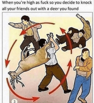 Deer, Friends, and Fuck: When you're high as fuck so you decide to knock  all your friends out with a deer you found