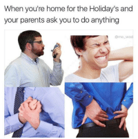 Memes, Home for the Holidays, and The Holiday: When you're home for the Holiday's and  your parents ask you to do anything  @mo wal