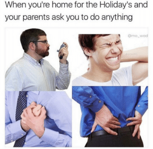 Parents, Reddit, and Happy: When you're home for the Holiday's and  your parents ask you to do anything  @mo_wad  denvoto Happy holidays
