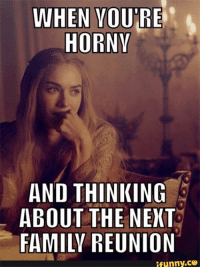 Horny: WHEN YOURE  HORNY  AND THINKING  ABOUT THE NEXT  FAMILY REUNION  ifunny.ce