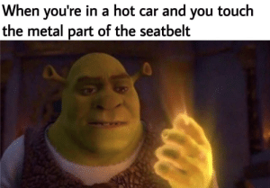 Shit, Metal, and Sun: When you're in a hot car and you touch  the metal part of the seatbelt I swear that shit's hotter than the sun
