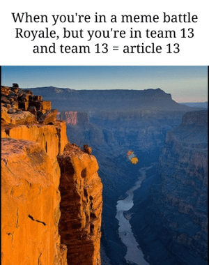 Meme, Dank Memes, and Battle Royale: When you're in a meme battle  Royale, but you're in team 13  and team 13 article 13 At least we arent gay