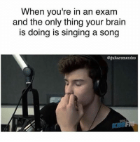 Singing, Stitches, and Brain: When you're in an exam  and the only thing your brain  s doing is singing a song  @guitarsmendes That's going to be me in our next Math exam🤐 #shawnmendes #mendesarmy #Mathsucks #stitches #mylife #hopeidontstarttosingoutloudthatwouldbeembaressing
