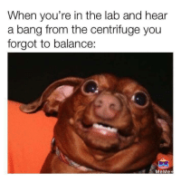 Meme, Memes, and 🤖: When you're in the lab and hear  a bang from the centrifuge you  forgot to balance:  MeMe+ Credit: Johnny Christy
