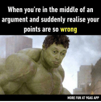 Hmmm... I think both of us are correct. Follow @9gag for more funny memes. 9gag argument wrong relatable feelings: When you're in the middle of an  argument and suddenly realise your  points are so wrong  MORE FUN AT 9GAG APP Hmmm... I think both of us are correct. Follow @9gag for more funny memes. 9gag argument wrong relatable feelings