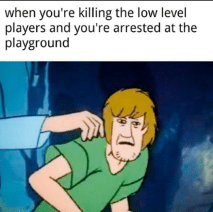 Gotta grind: when you're killing the low level  players and you're arrested at the  playground Gotta grind